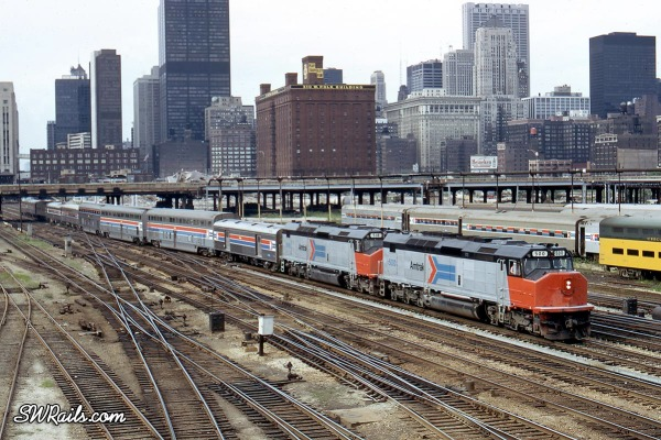 "Amtrak Passenger train ""Lone Star"" departing Chicago in 1974"