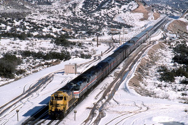 Amtrak Southwest Chief in the snow at Cajon Pass Summit