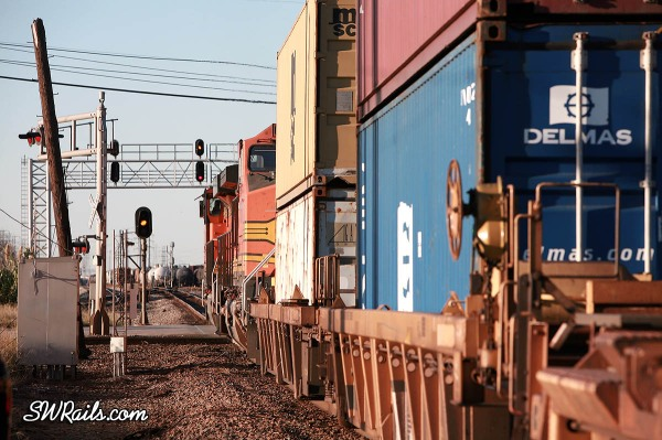 BNSF double stack train at Houston, Texas