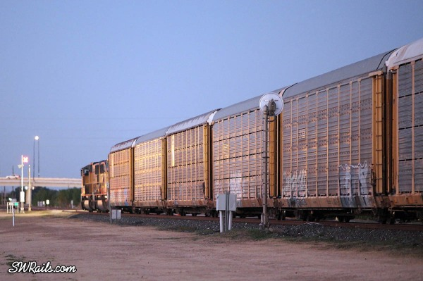 Union Pacific auto rack train at sugar Land, Texas on dec. 13, 2010