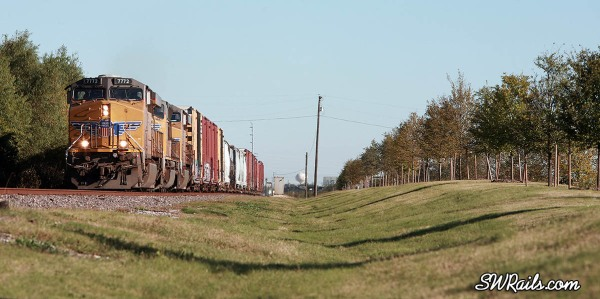 UP QEWWC freight train in Stafford, Texas