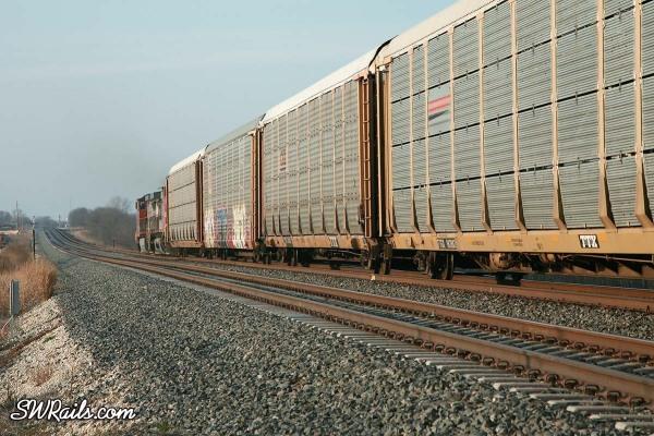 BNSF auto rack train near Temple, Texas