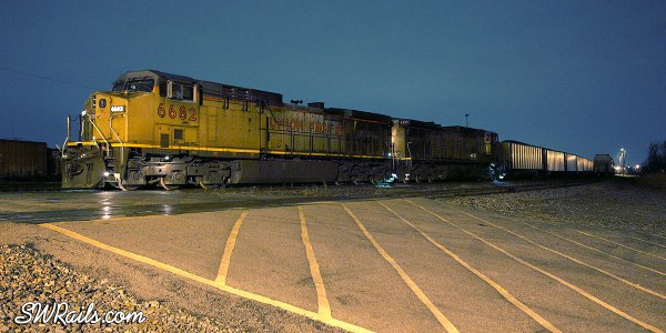 Night picture of Union Pacific coal train at Fort Worth TX