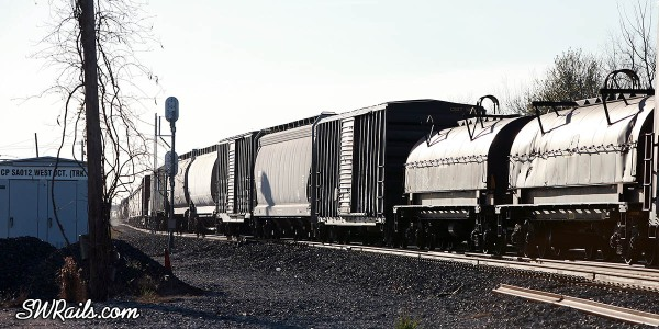 KCS freight cars on train