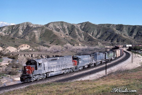 Southern Pacific freight train at Redlands, CA