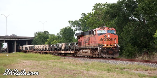 BNSF military train in Houston, TX