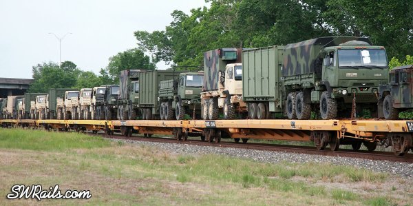 Westbound BNSF  military train in Houston TX