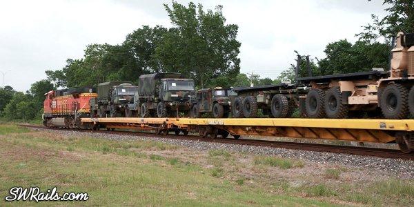 BNSF military train in Houston, TX