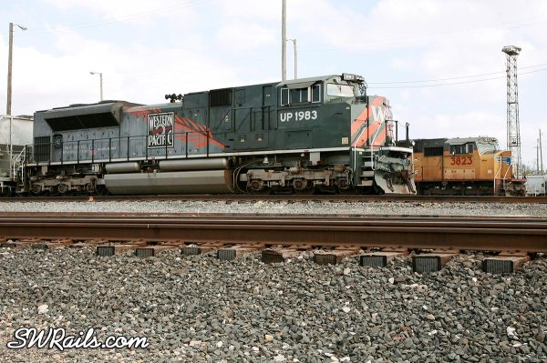 UP SD70Ace 1983, the Western Pacific heritage unit at Houston on 3/18/2011