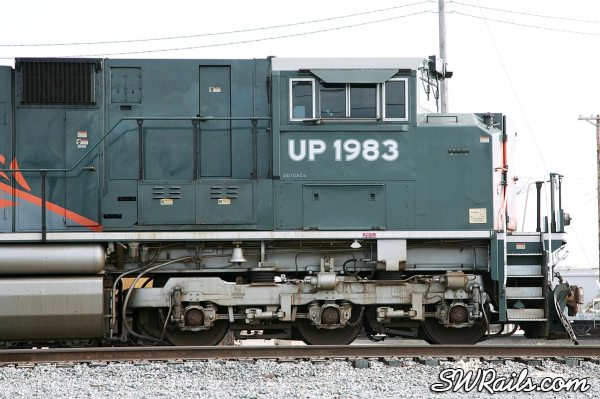 Detailed view of the front of UP SD70ACe 1983