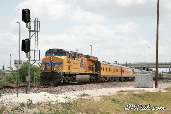 UP 7454 on engineering dept special passenger train at heacker, TX