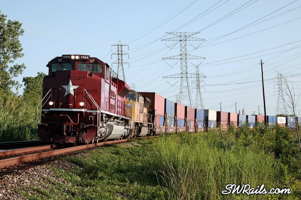 UP 1988, the Katy heritage engine at west junction, TX on 6/26/2011