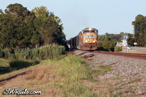 UP SD70M 4403 with an empty rock train at East Bernard, TX on Aug. 4, 2011