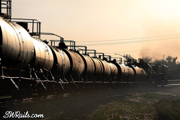 BNSF freight train at sunset, Stafford TX