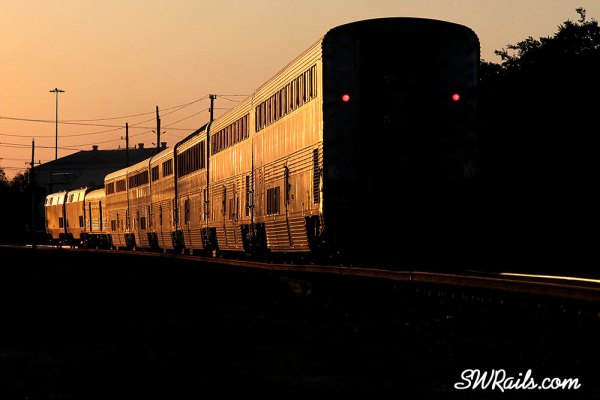 Amtrak Sunset Limited at sunset in Stafford TX