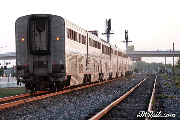 Amtrak train #1, the Sunset Limited, passes through Sugar Land, TX at sunset on May 9, 2012.
