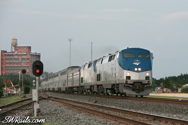 Amtrak Sunset Limited at Sugar Land TX on May 7, 2012