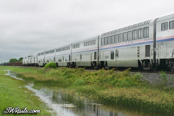 Amtrak westbound Sunset limited at Missouri City, TX