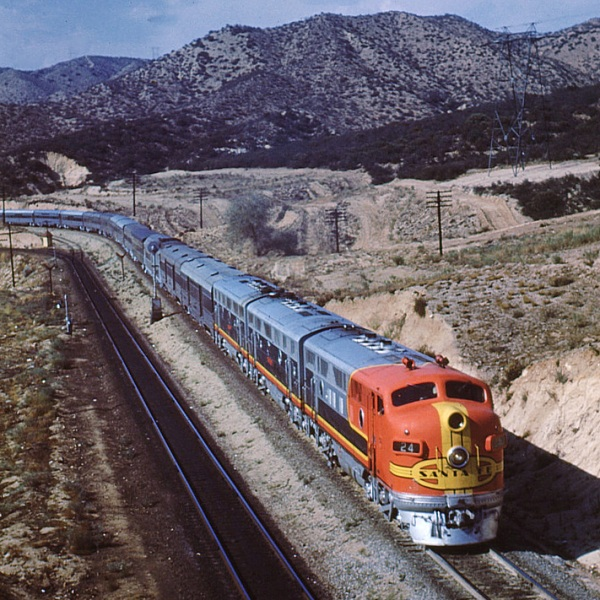 Santa Fe's eastbound El Capitan on Cajon Pass in the early 1950's