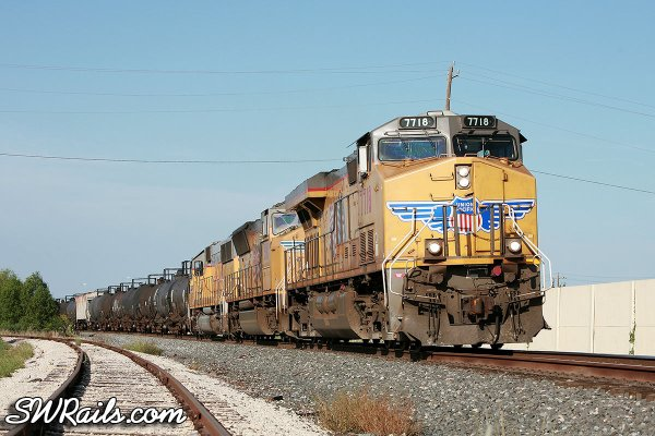 Union Pacific QEWWC freight train at Stafford, TX on 7/17/2011