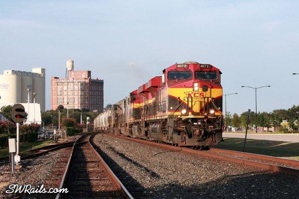 KCS Kansas City Southern freight train at Sugar Land Texas on 7/17/2011