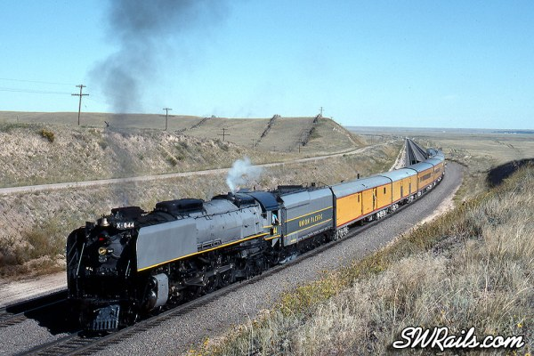 Union Pacific 844 at Greer WY on 9/16/89