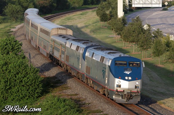 Amtrak P42DC 1 leads train #1, the Sunset Limited through Sugar Land TX