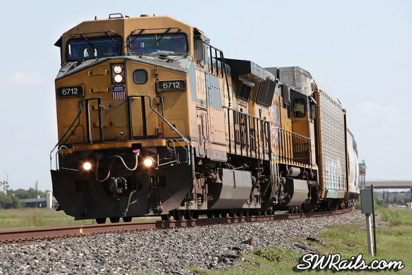 UP 6712 in C&NW colors at Sugar Land, TX