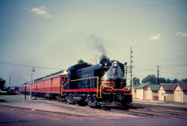 SSW Cotton Belt RS3 leads passenger train at dallas Jct. in 1954