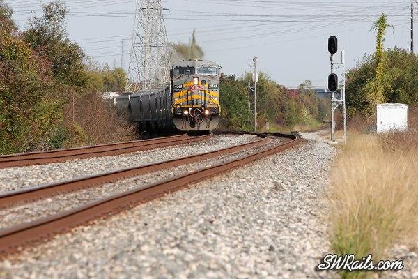 KCSM 4508 & freight train at Houston, TX