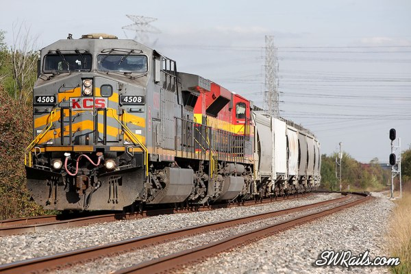 KCSM 4508 & freight train at Houston, TX