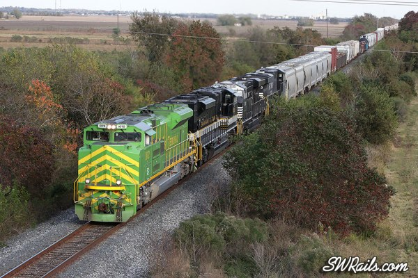 NS 1072 (Illinois terminal Heritage) leads UP freight train MEWEY-21 at Rosenberg, TX on 11/21/2012