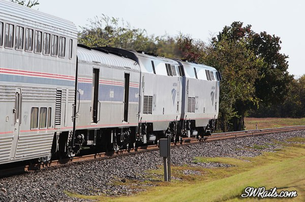 Amtrak's eastbound Sunset limited at Stafford, TX on 11/25/2012