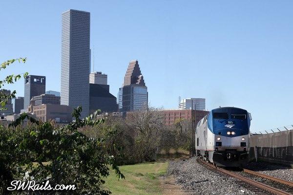 Amtrak Sunset Limited departing Houston Dec-18-2012