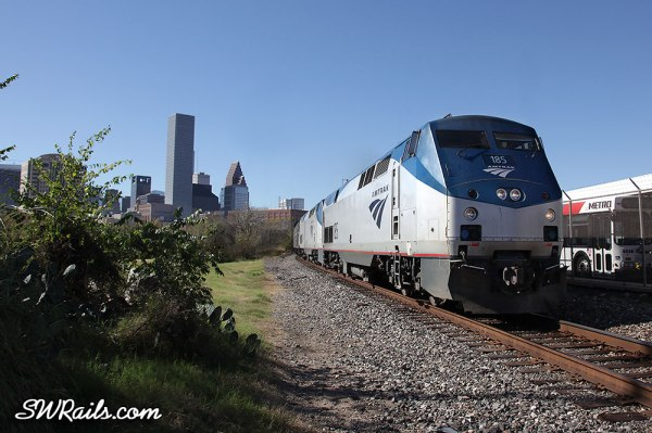 Amtrak Sunset Limited departing Houston Dec-18-2012