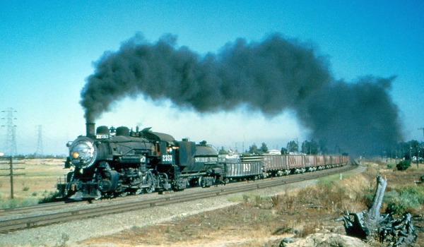 Southern Pacific 4-6-0 steam locomotive 2353 at Burlingame CA in 1955