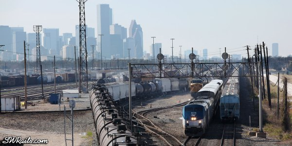 Amtrak #2 passing UP Englewood yard in Houston, TX