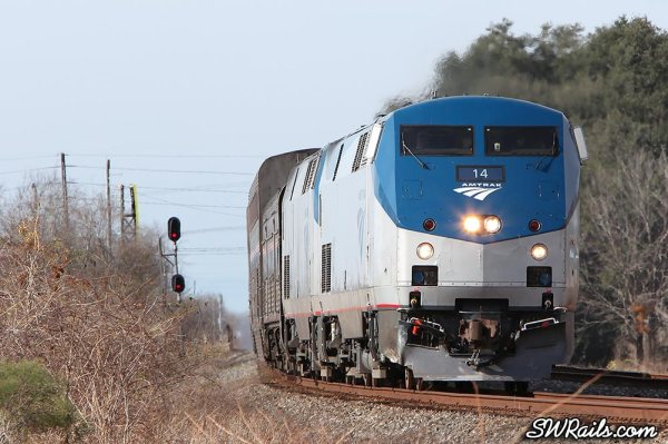 Amtrak P42DC 14 on the Sunset Limited at Sugar Land TX