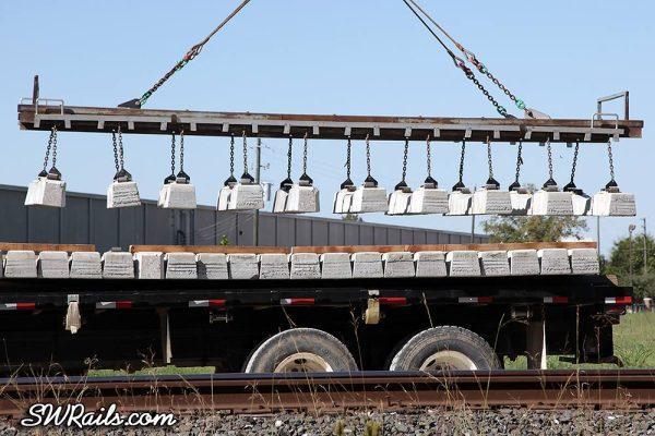 concrete crosstie placement on Union Pacific Glidden sub