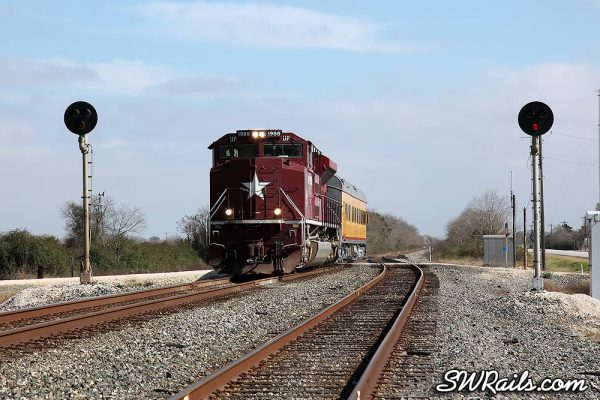 UP 1988 SD70ACE Katy Heritage on SSPSA special passenger train at Lissie TX