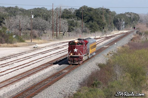 UP 1988 SD70ACE Katy Heritage on SSPSA special passenger train at Glidden TX
