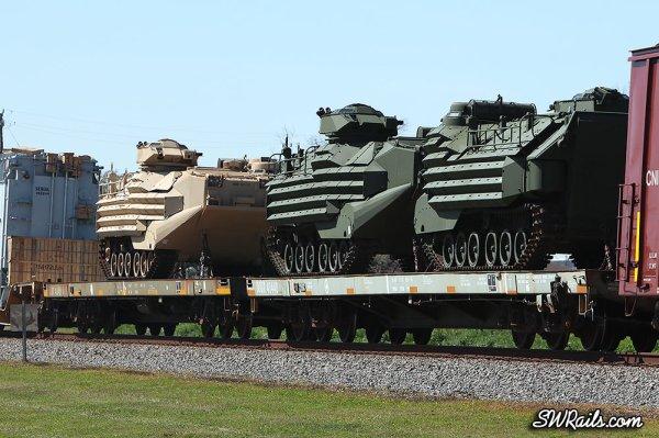 DODX flats with USMC AAV-7A1 APC's