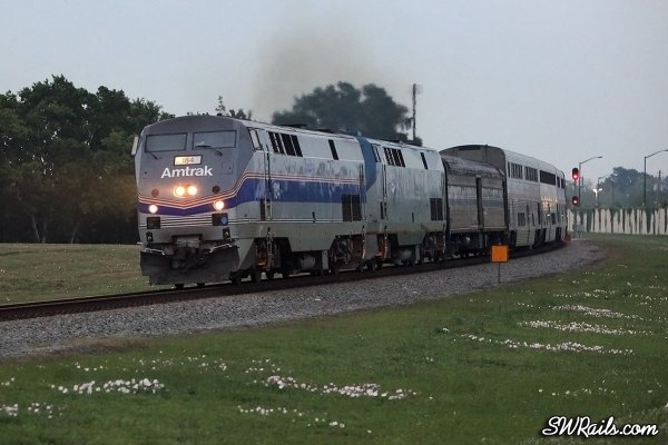 Amtrak P42 184 on the Sunset Limited at Stafford TX