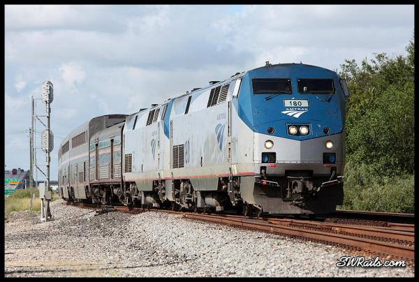 Amtrak P42DC 180 on train #2 at Houston, TX