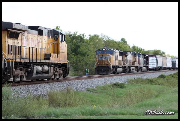 UP SD70M 3778 on MEWEG manifest train at Missouri City TX and LHT44 local