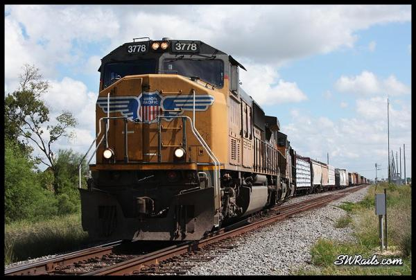UP SD70M 3778 on MEWEG manifest train at Missouri City TX