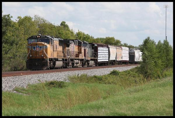 UP SD70M 3778 on MEWEG manifest train at Missouri City TX