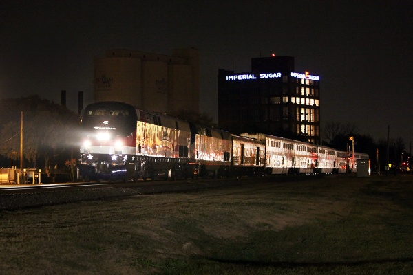 AMTK P42DC 42 Veterans Commemorative unit leading westbound Sunset limited at Sugar Land TX 12/30/2013