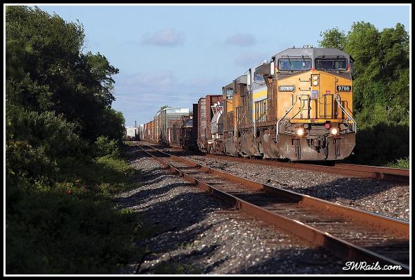 UP 9766 leads MEWEG train at Harlem TX