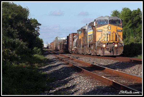 UP 9766 leads MEWEG train at Harlem TX